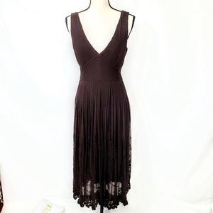 ECI New York Deep V Neck A Line Pleated Gown Dress